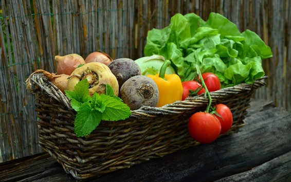 Wallpaper Vegetables, basket, tomatoes, carrot, pepper, onion