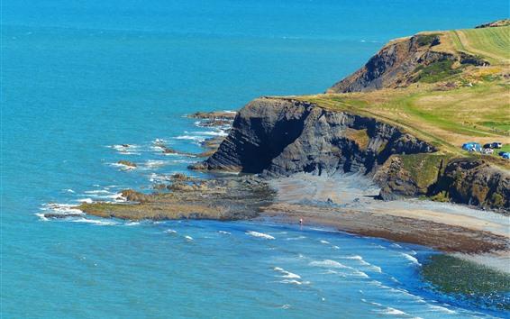 Papéis de Parede País de Gales, baía, mar