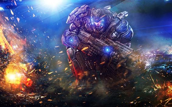 Fondos de pantalla Guerrero, arma, armadura, fuego, imagen artística