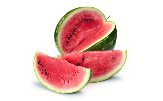 Wallpaper Watermelon, fruit, white background