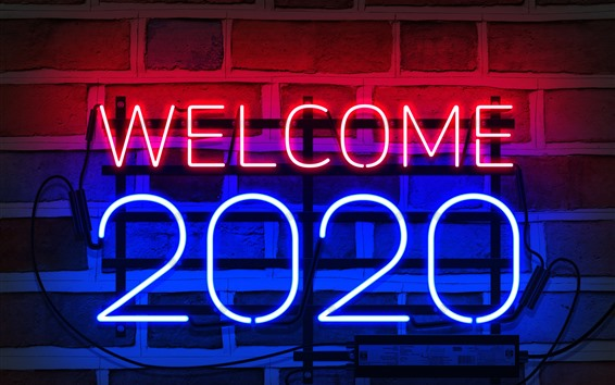 Wallpaper Welcome 2020, New Year, neon