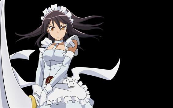 Fond d'écran Fille anime jupe blanche, épée