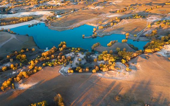Fond d'écran Wulan Butong Grassland, lac, arbres, automne, soleil, matin