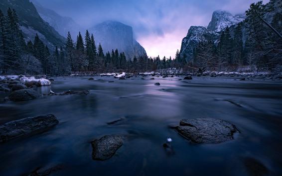 Обои Йосемитский национальный парк, река, горы, снег, зима