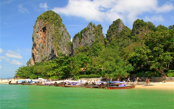 Papéis de Parede Praia, tropical, pedras, barcos, mar