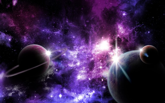 Wallpaper Beautiful space, planets, purple star lights