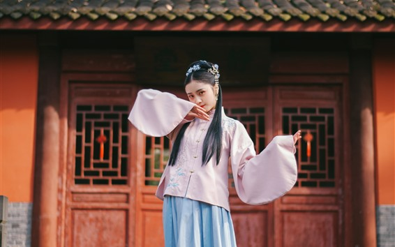 Wallpaper Chinese girl, retro style, pose, house