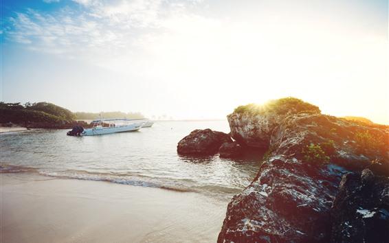 Fondos de pantalla Costa, piedras, mar, barcos, sol