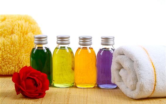 Papéis de Parede Óleo colorido, toalha, rosa, SPA