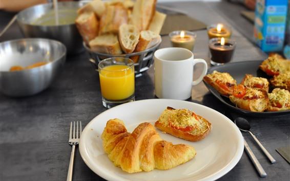 Обои Круассан, апельсиновый сок, завтрак