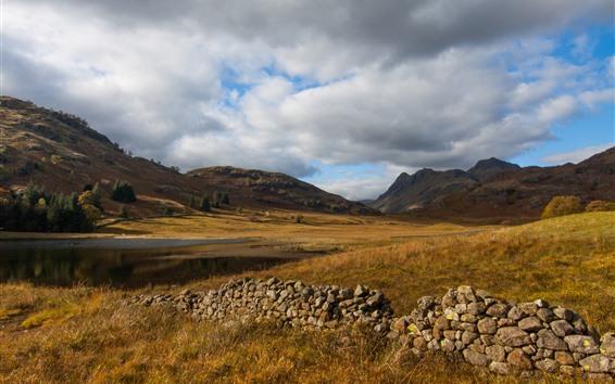 Fondos de pantalla Cumbria, montañas, lago, nubes, Inglaterra