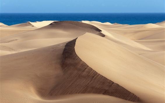 배경 화면 사막, 푸른 바다