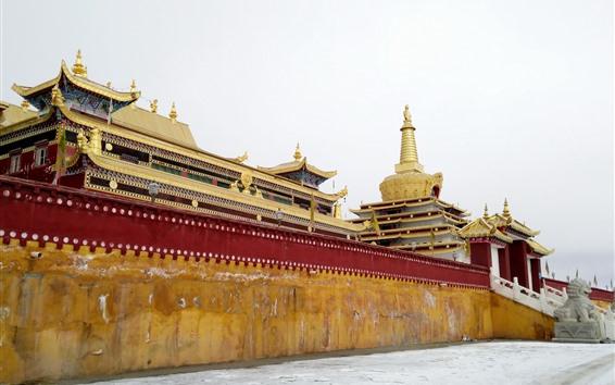 배경 화면 동가 사원, 정면도, 티베트