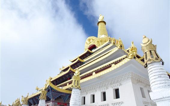 배경 화면 동가 사원, 하늘, 티베트