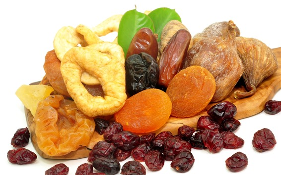 Wallpaper Dried fruits, white background