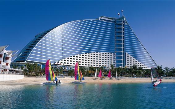 Wallpaper Dubai, beach, hotel, sailboat, sea