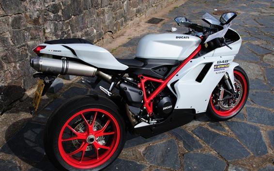 배경 화면 두카티 848 오토바이, 바위
