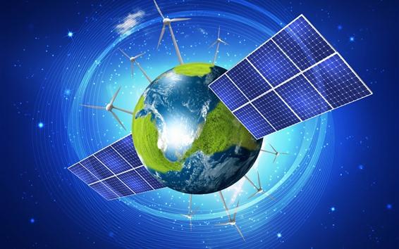 Wallpaper Earth, windmill, satellite, creative picture
