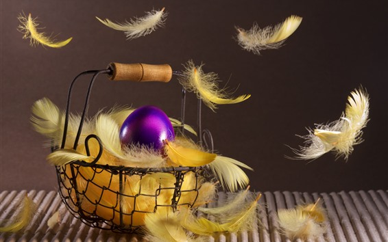 Wallpaper Easter eggs, basket, feathers