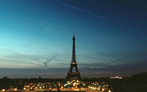 Обои Эйфелева башня, Париж, ночь, огни, город, Франция