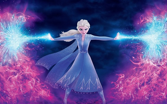 Wallpaper Elsa, magic, ice and fire, Frozen 2