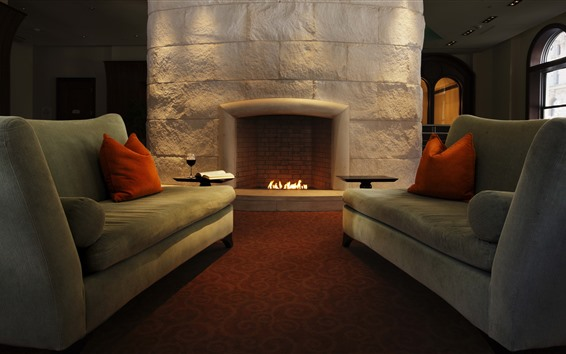 Wallpaper Fireplace, sofa, living room