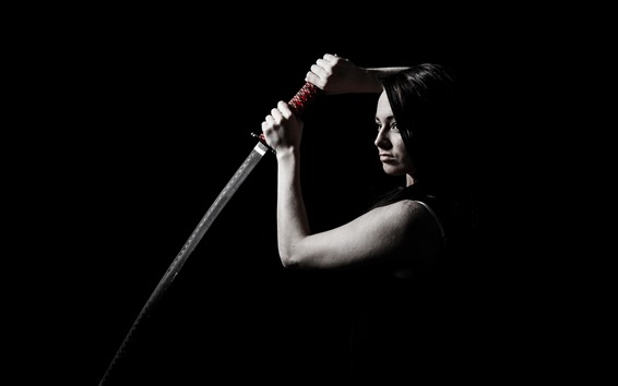 Wallpaper Girl use katana, darkness