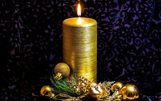 Wallpaper Golden style, candle, balls