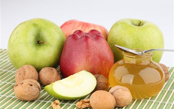 Обои Зеленые и красные яблоки, мед
