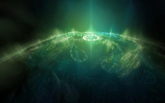 Обои Зеленые лучи света, планета, креативный дизайн