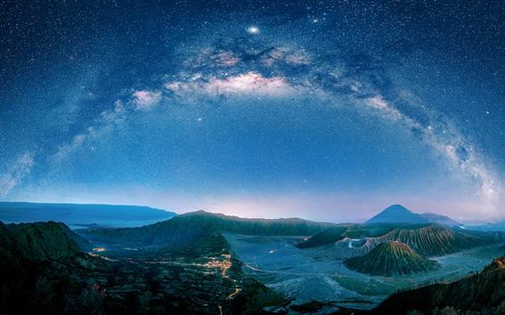 Fond d'écran Java, volcan, nuit, étoilé, Indonésie