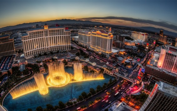 Wallpaper Las Vegas, city, night, lights, fountain, hotel, top view