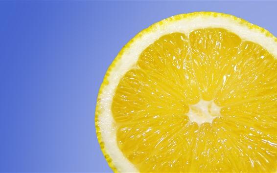 Wallpaper Lemon slice, blue background