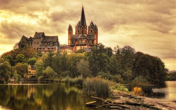 Fondos de pantalla Limburgo, castillo, árboles, nubes, Alemania
