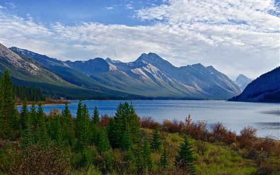 壁紙 山、湖、木、雲、自然の風景