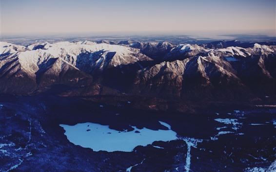 Fondos de pantalla Montañas, nieve, lago, invierno, vista superior