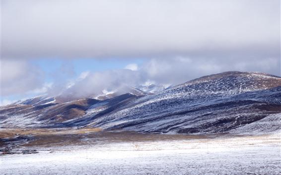 Papéis de Parede Montanhas, neve, inverno, Tibete