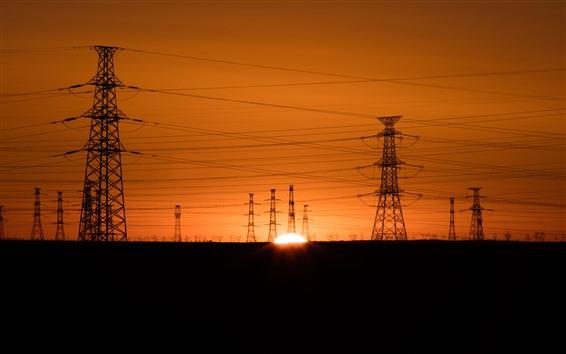 Wallpaper Power lines, sunset, silhouette