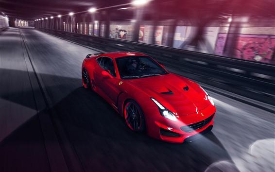 Обои Красный Феррари суперкар, скорость, фары