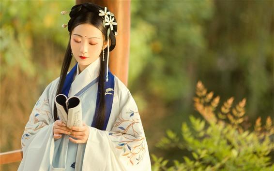 Wallpaper Retro style girl, long hair, book, hanfu