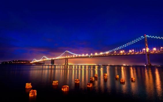 Fond d'écran San Francisco, nuit, pont, rivière, lumières, USA