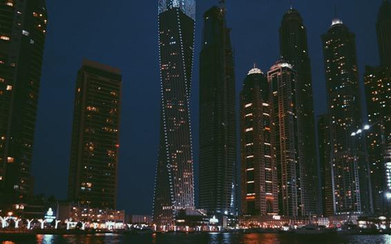 Обои Небоскребы, огни, ночь, город, река