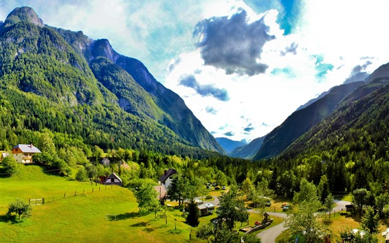 Wallpaper Slovenia, mountains, trees, green, sky, clouds, village