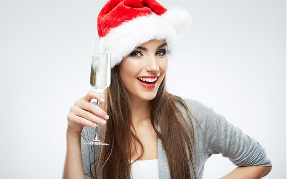 Wallpaper Smile girl, Christmas hat, glass cup, champagne
