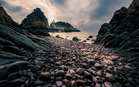 Обои Камни, море, сумерки, Сяншань, остров Хуалиу, Китай