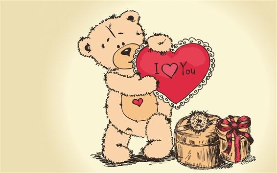 Wallpaper Teddy bear, I love you, love heart, gift, art picture