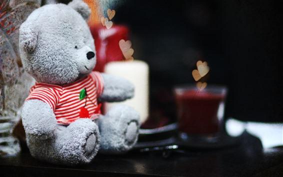Papéis de Parede Urso de pelúcia, corações de amor, nebulosos