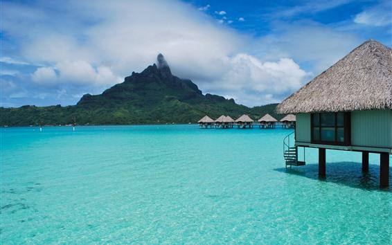 Papéis de Parede Tropical, bungalows, mar azul, ilha, nuvens