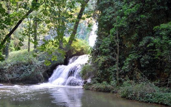 Wallpaper Waterfall, trees, Spain, Aragon