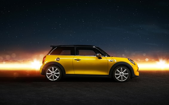 Wallpaper Yellow Mini Cooper car side view